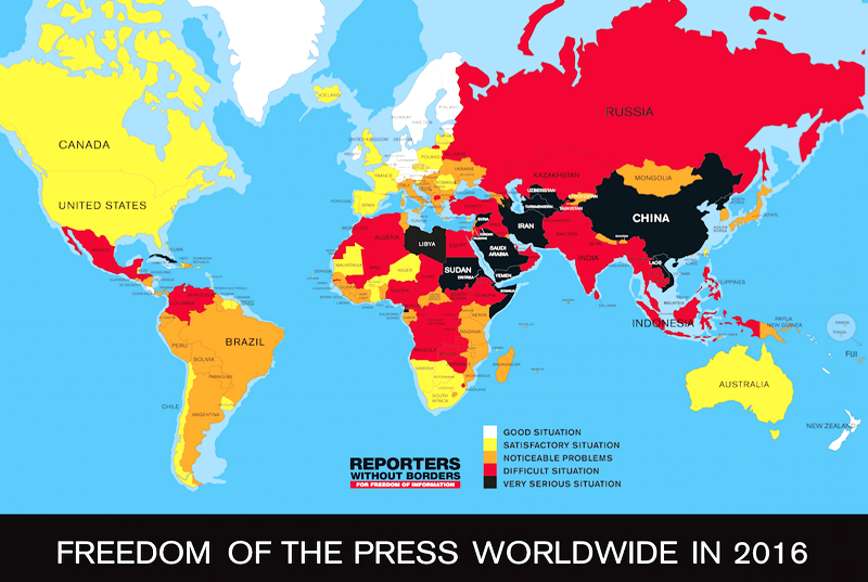 Syria china north korea among worst countries for press freedom world map press freedom index 2016 gumiabroncs Gallery