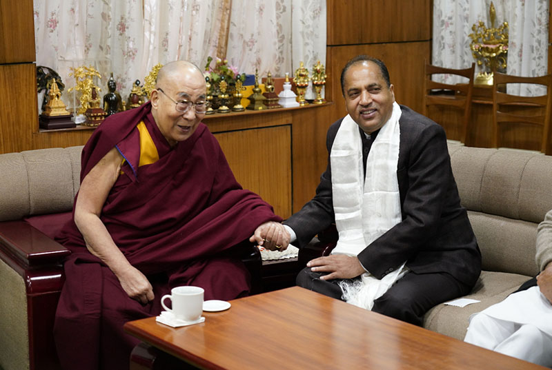 Chief Minister of Himachal Pradesh Jai Ram Thakur and His Holiness the Dalai Lama during their meeting at His Holiness's office in Dharamsala, HP, India on February 1, 2018. Photo: OHHDL