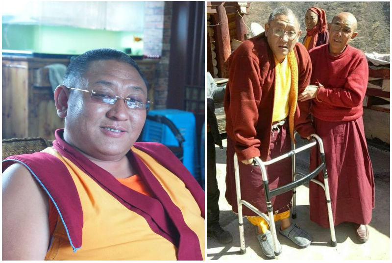 Geshe Tsewang Namgyal before and after released from Chinese prison recently. Photo: TPI