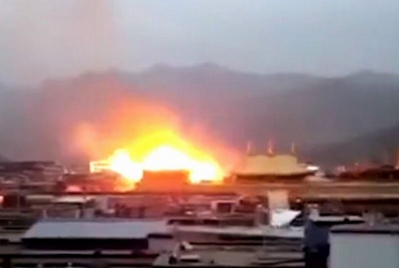 A still from video circulated online of the temple fire.