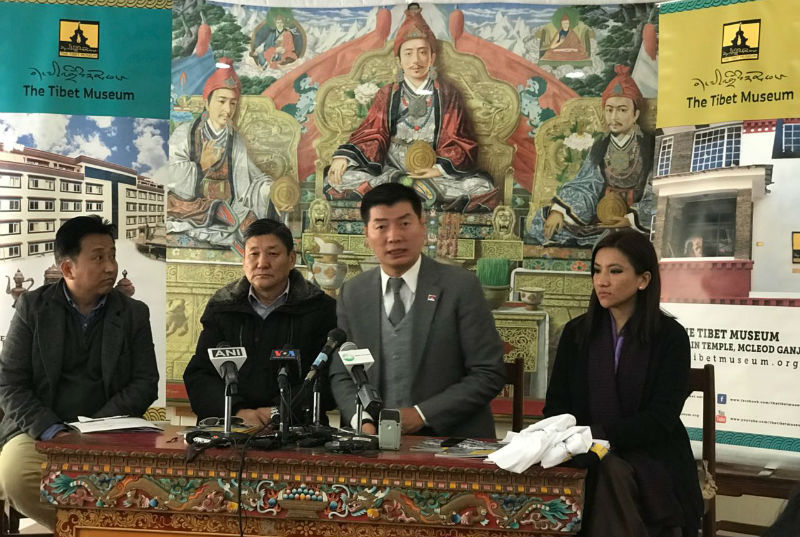 President Dr Lobsang Sangay with DIIR secretaries Sonam Norbu Dagpo and Tenzin Dhardon Sharling and Tashi phuntsok, director of Tibet Museum at the press conference, January 12, 2018. Photo: TPI