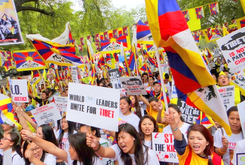 Hundreds of Tibetans and Indian supporters protesting at the Jantar Mantar in New Delhi on the 55th Tibetan National Uprising Day on March 10, 2014. Photo: TPI/Yeshe Choesang