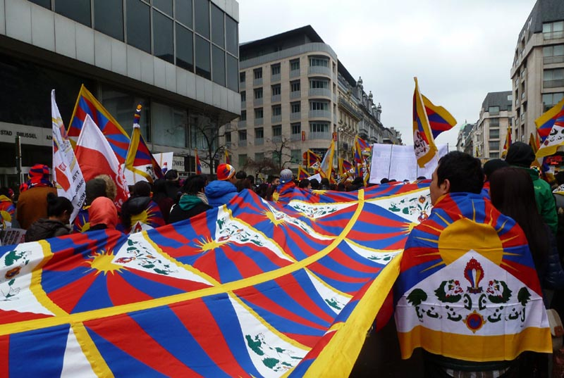 Potsdam City in Germany displaying Tibetan national flag for Tibet, on March 10, 2017. Photo: TPI