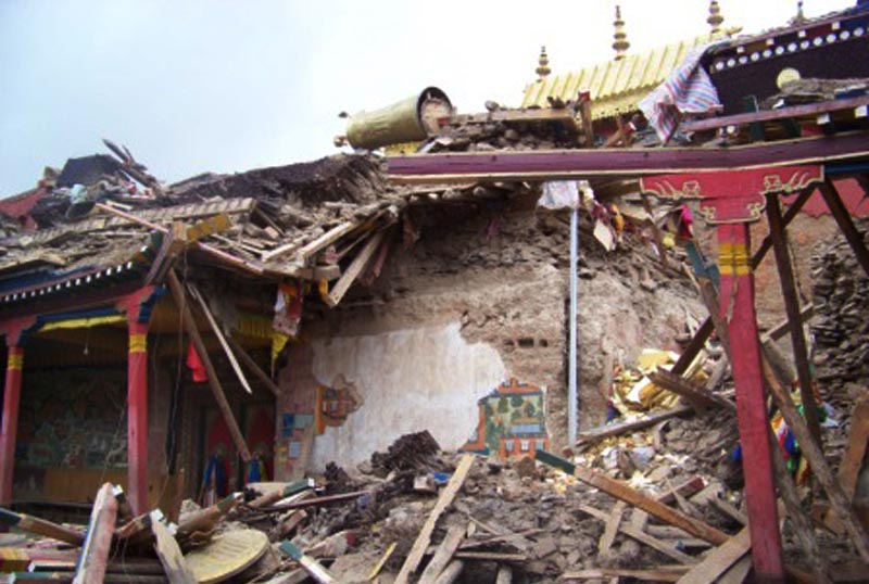 Kyigudo monaster after the deadly quake killed thousands Tibetans on 14 April 2010. Photo: TPI