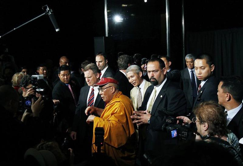 The 74 year old His Holiness the Dalai Lama speaks to the media after a news conference at Radio City Music Hall in New York May 20, 2010. Photo: Reuters