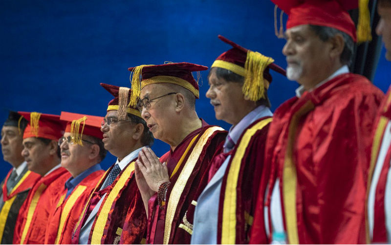 Participants on the dias standing during the Indian National Anthem as of the Lal Bahadur Shastri Institute of Management Convocation comes to an end in Delhi, India on April 23, 2018. Photo by Tenzin Choejor