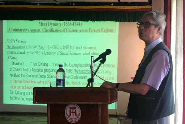 Professor Hon Shiang Lau presents on pre 1949 China and Tibet on April 21, 2018. Photo: TPI/Yangchen Dolma