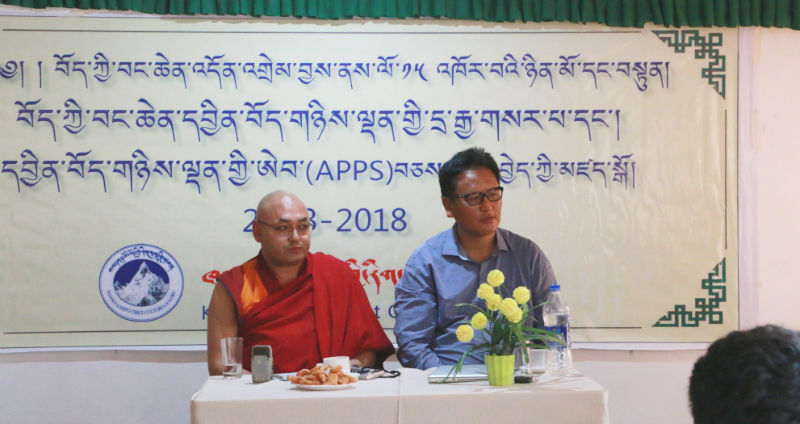 Speaker Khenpo Sonam Tenphel and Director Serta Tsultrim during a press conference to mark the 15th anniversary of the Tibet Express, Dharamshala, India, on April 19, 2018. Photo: TPI/Yeshe Lhamo