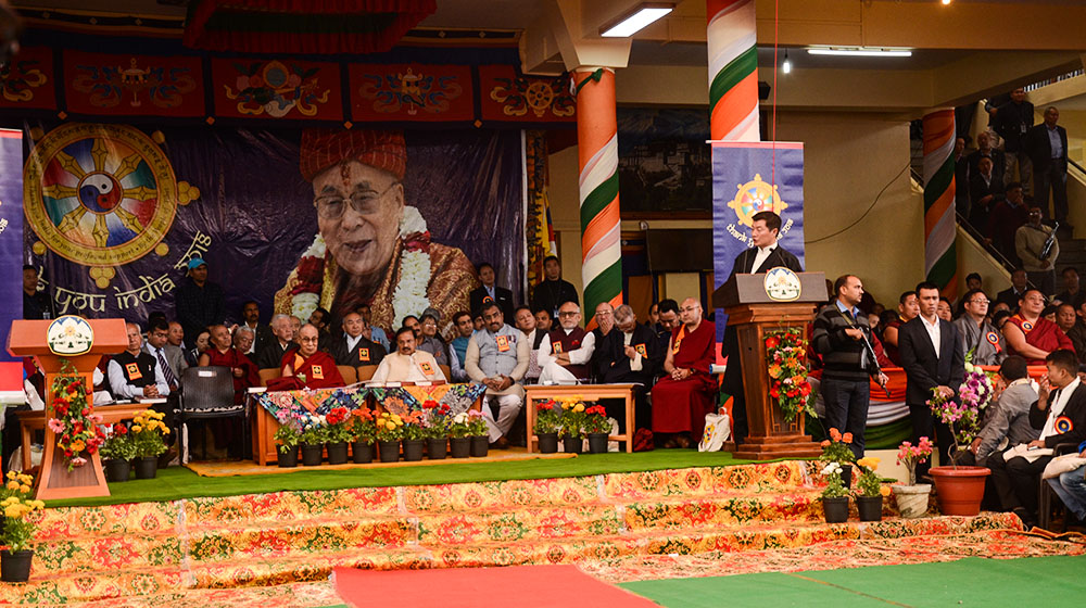 President Dr Lobsang Sangay addressing at the main Tibetan temple in Dharamshala, India, on March 31, 2018. Photo: TPI/Chonyi Sangpo