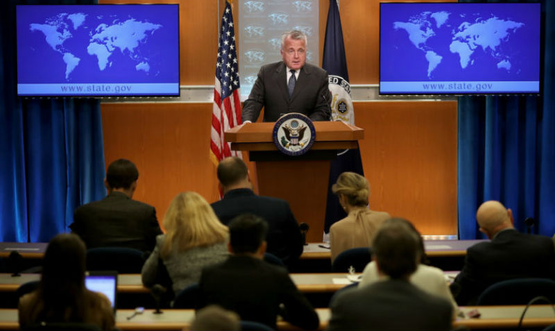 Acting U.S. Secretary of State John Sullivan speaks on the release of the 2017 Country Reports on Human Rights Practices at April 20, 2018, at the U.S. Department of State in Washington, DC.  Photo: Win McNamee/Getty Images