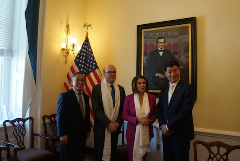 President Dr Lobsang Sangay and Representative Ngodup Tsering with Leader Nancy Pelosi and Representative Jim McGovern in Washington DC on April 12, 2018. Photo: CTA