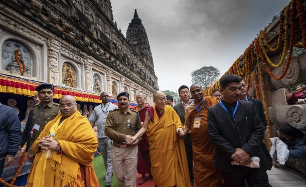 His Holiness, nearing the end of his pilgrimage, makes his way around the Mahabodhi Temple in Bodhgaya, Bihar, India on December 17, 2018. Photo by Tenzin Choejor