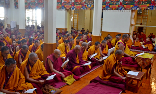 Residents of Dharamshala including monks, nuns and officials gathered at the Tsunglakhang, November 30, 2018. Photo:TPI/Divya Pandey