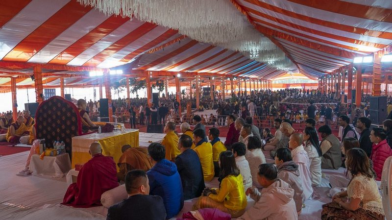 His Holiness the Dalai Lama speaking at the Youth Buddhist Society of India ground on the first day of his teaching in Sankisa, UP, India on December 3, 2018. Photo by Lobsang Tsering