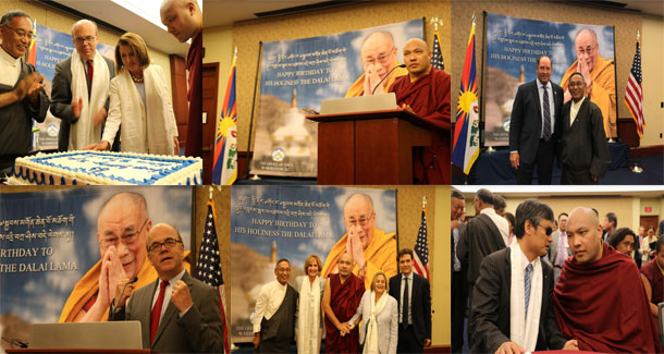Gyalwa Karmapa, Leader Pelosi, and McGovern among other guests during the celebration of His Holiness the Dalai Lama's 83rd birthday, Washington DC, US, on July 11, 2018. Photo: OOT DC
