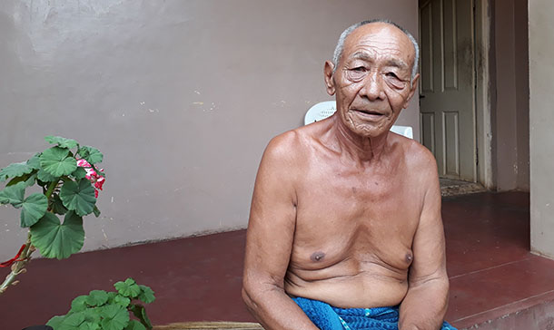 Kharkya at his old age residence in the Kollegal Dhondenling, one of the five Tibetan settlements in the south Indian state of Karnataka. Photo: TPI/Tenzin Tsomo