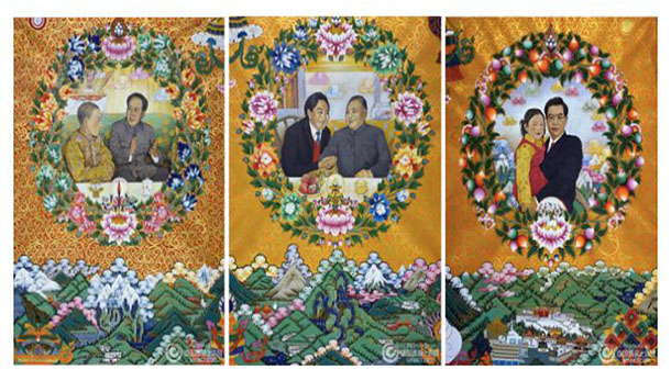 "So called ""New Thangka, a single leap from traditional craft art into modern painting"", promoted by the controlled media Xinhua, in August 2016. Photo: Xinhua"