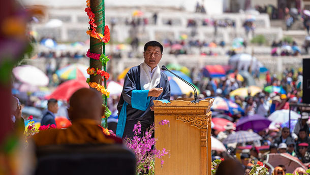 President  Dr Lobsang Sangay, speaking at celebrations on His Holiness the Dalai Lama's 83rd birthday in Leh, Ladakh, J&K, India on July 6, 2018. Photo by Tenzin Choejor