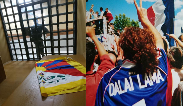 "Hugues Picon with the national of Tibet inside the Luzhniki Stadium jail on July 15, 2018 and he was wearing a T-Shirt with ""Dalai Lama,""  during the 1998 FIFA World Cup in France. Photo: TPI"