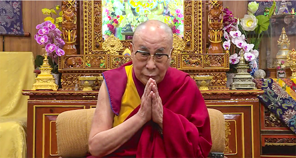 His Holiness the Dalai Lama thanking the Government of Canada for supporting Tibet and Tibetan people. Photo: Screenshot from YouTube Video