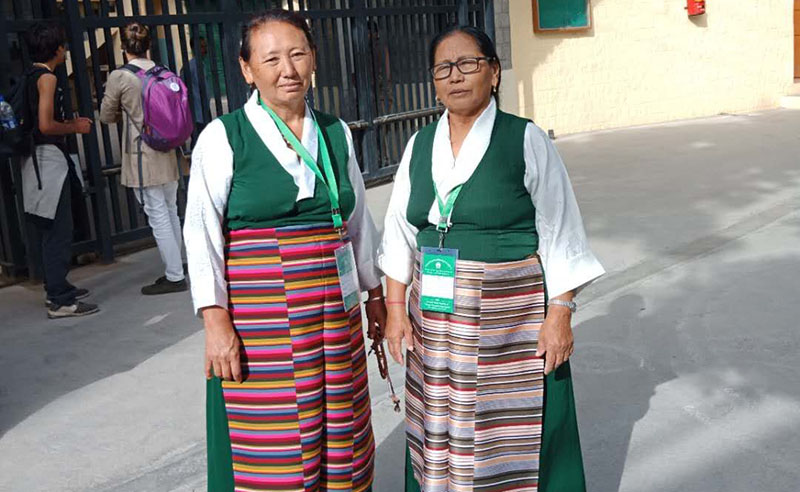 Phurbu Lhamo (R), the former head of the Tibetan Women's Association of Kollegal Settlement in South India. Photo: File