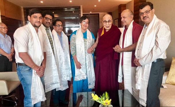 Manish Sisodia. Manish Sisodia accompanied by his team meeting with His Holiness the Dalai Lama in New Delhi, India, on June 30, 2018. Photo: @msisodia