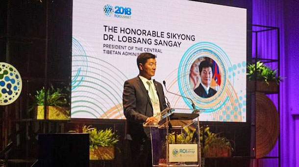 President Dr Lobsang Sangay addressing the 2018 ROI Summit in Jerasulam, Israel, in June 2018. Photo: CTA/DIIR
