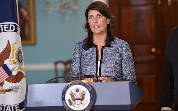 U.S. Permanent Representative to the United Nations Nikki Haley delivers remarks to the press on the UN Human Rights Council, at the U.S. Department of State in Washington, D.C., on June 19, 2018. [State Department photo/ Public Domain]