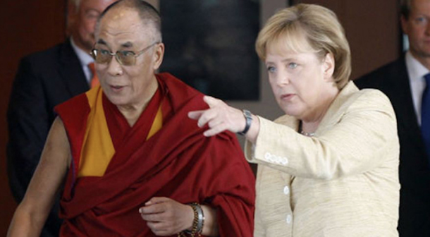 His Holiness with Dalai Lama with German Chancellor Angela Merkel. Photo: File