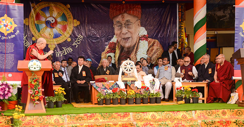 "His Holiness the Dalai Lama speaking to the public at the ""Thank You India"" event at the Tibetan temple in Dharamshala, India, on March 31, 2018. Photo: TPI/Chonyi Sangpo"