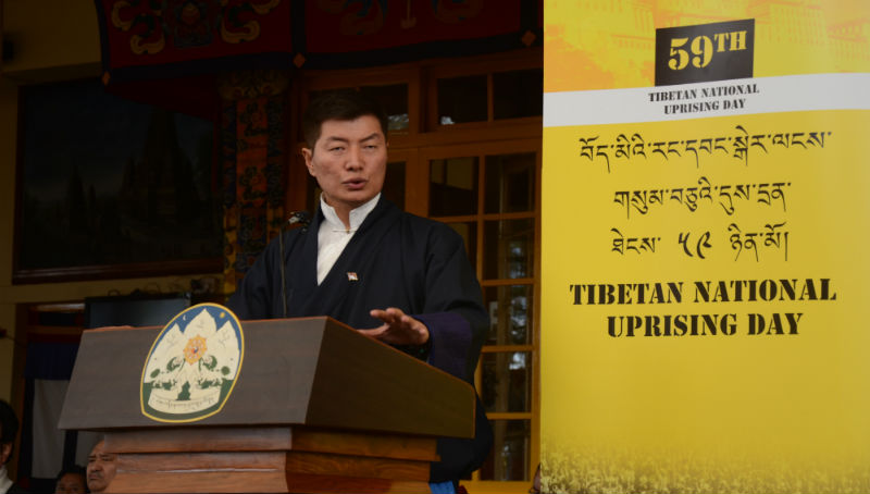 President Dr Lobsang Sangay delivering Kashag's speech during the 59th Tibetan National Uprising Day, at main Tibetan temple in Dharamshala, India, on March 10, 2018. Photo: Chonyi Sangpo
