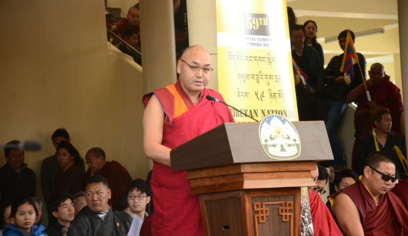 Speaker Khenpo Sonam Tenphel delivering TPiE's speech during the 59th Tibetan National Uprising Day on March 10, 2018. Photo: Chonyi Sangpo