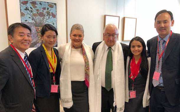 Nyima Lhamo, niece of late Tulku Tenzin Delek Rinpochewith Honourable Meryln Swanson and Michael Danby, Australian Member of Parliament, in Canberra, Australia, on March 27, 2018. Photo: OOT Australia