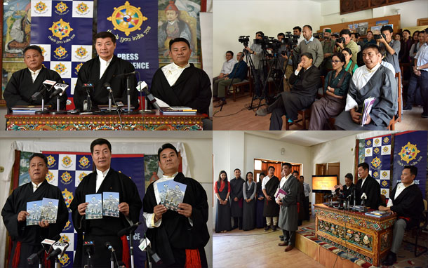 President Dr Lobsang Sangay accompanied by his Finance Kalon Karma Yeshi (right) and Health Kalon Choekyong Wangchuk (left) at the press conference in Dharamshala, India, on 28 March 2018. Photo:Tenzin Phende/DIIR