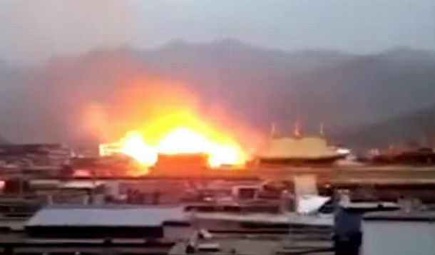 A still from video circulated online of the temple fire. Photo: file