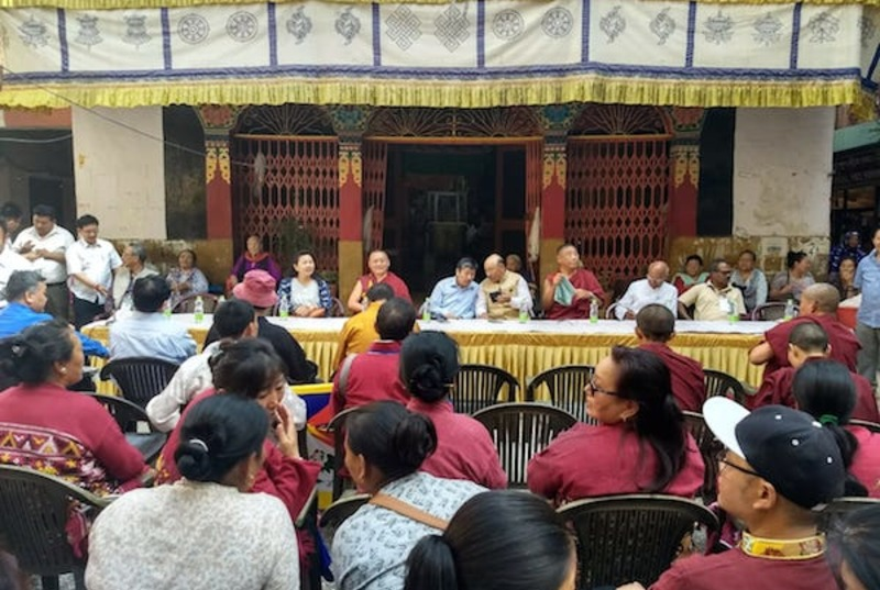The leaders and participants of the Padyatra being felicitated by the Tibetan community in Samyeling Tibetan settlement, Majnukatilla, New Delhi. Photo: CTA