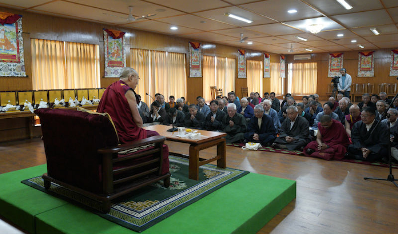 His Holiness the Dalai Lama speaking at the ceremony of honouring retired officials of the CTA at his residence, May 2, 2018. Photo/Tenzin Choejor/OHHDL