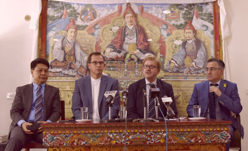 Delegation consisting of MEP Thomas Mann, MEP CSaba Sogor and MEP Ramon Tremosa with Representative Tashi Phuntsok at the press conference on 10 May 2018. Photo/Tenzin Phende/DIIR