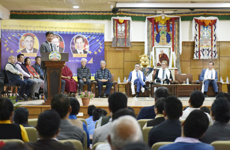 President Dr Lobsang Sangay addressing the felicitation ceremony for the European Parliamentary Delegation at Gangchen Kyishong, 7 May 2018. Photo/Tenzin Phende/DIIR