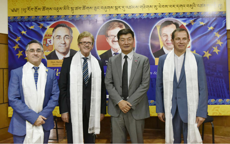 President Dr Lobsang Sangay with MEP Thomas Mann, MEP Csaba Sogor and MEP Ramon Tremosa at the felicitation ceremony at Gangchen Kyishong, 7 May 2018. Photo/Tenzin Phende/DIIR