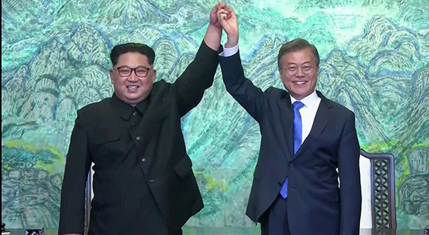 leaders of North and South Korea agreed to work on formally ending the Korean War. Photo: Reuters