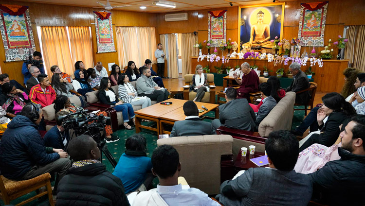 His Holiness the Dalai Lama during his meeting with youth leaders from conflict areas in Dharamsala, HP, India on October 25, 2018. Photo by Ven Tenzin Jamphel