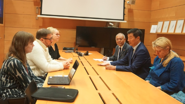 President at the meeting with Member of Parliament and former Minister Paavo Arhinmaki, Hanna Sarkkinen, Kansanedustaja, Member of parliament and Johanna Kelhu, Eduskuntasiteeri, Riksdagssekreterare Parliamentary Advisor. Photo/Sontash