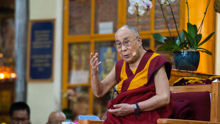 His Holiness the Dalai Lama answering question from the audience on the final day of his teachings for Buddhists from East and Southeast Asia at the Main Tibetan Temple in Dharamsala, HP, India on September 7, 2018. Photo by Tenzin Choejor