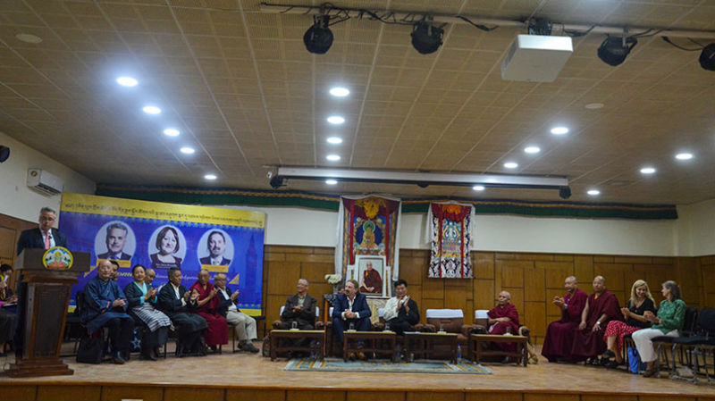 UK Parliamentarian delegation in Dharamshala, India, September 28, 2018, hosted by President Dr Lobsang Sangay, accompanied by top Tibetan officials inside the new CTA building. Photo: TPI/Yangchen Dolma