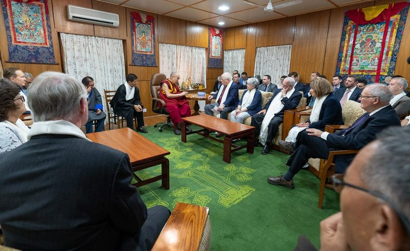 His Holiness the Dalai Lama interacting with the U.S Congressional delegation. Photo: Tenzin Choenjor