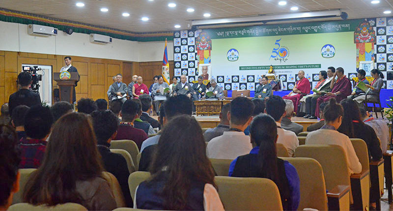 President Dr Lobsang Sangay addressing the gathering on Second Five Fifty Youth Forum, in Dharamshala, India, August 16, 2019. Photo: TPI/Yangchen Dolma