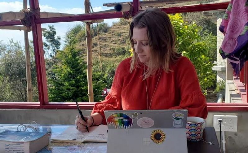 Emilee, from Denver, Colorado, U.S., at Center for Living Buddhist Art in Dharamshala, India, on December 17, 2019. Photo: TPI/Courtnie