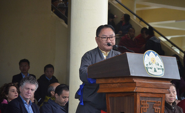 Pema Jungney delivering the Statement of the Tibetan Parliament in-Exile on the occasion of 30th anniversary of the conferment of the Nobel Peace Prize on His Holiness the Dalai Lama, in Dharamshala, India, on December 10, 2019. Photo: TPI/Yangchen Dolma