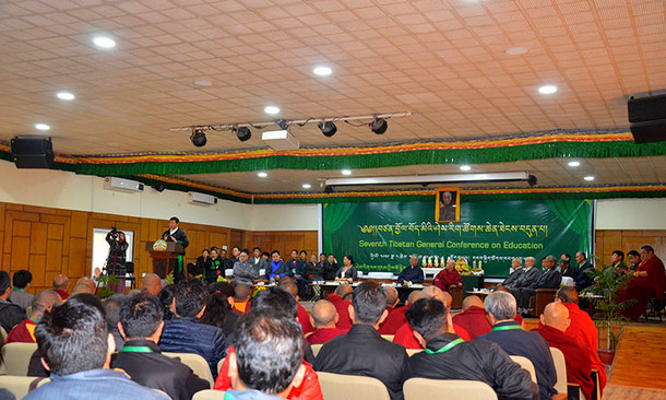 President Dr Lobsang Sangay addressing the seventh Tibetan General Conference on Education at T- Building, Dharamshala, India, on February 23, 2019. Photo: TPI/Yangchen Dolma